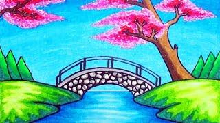 garden drawing easy scenery draw chery blossom