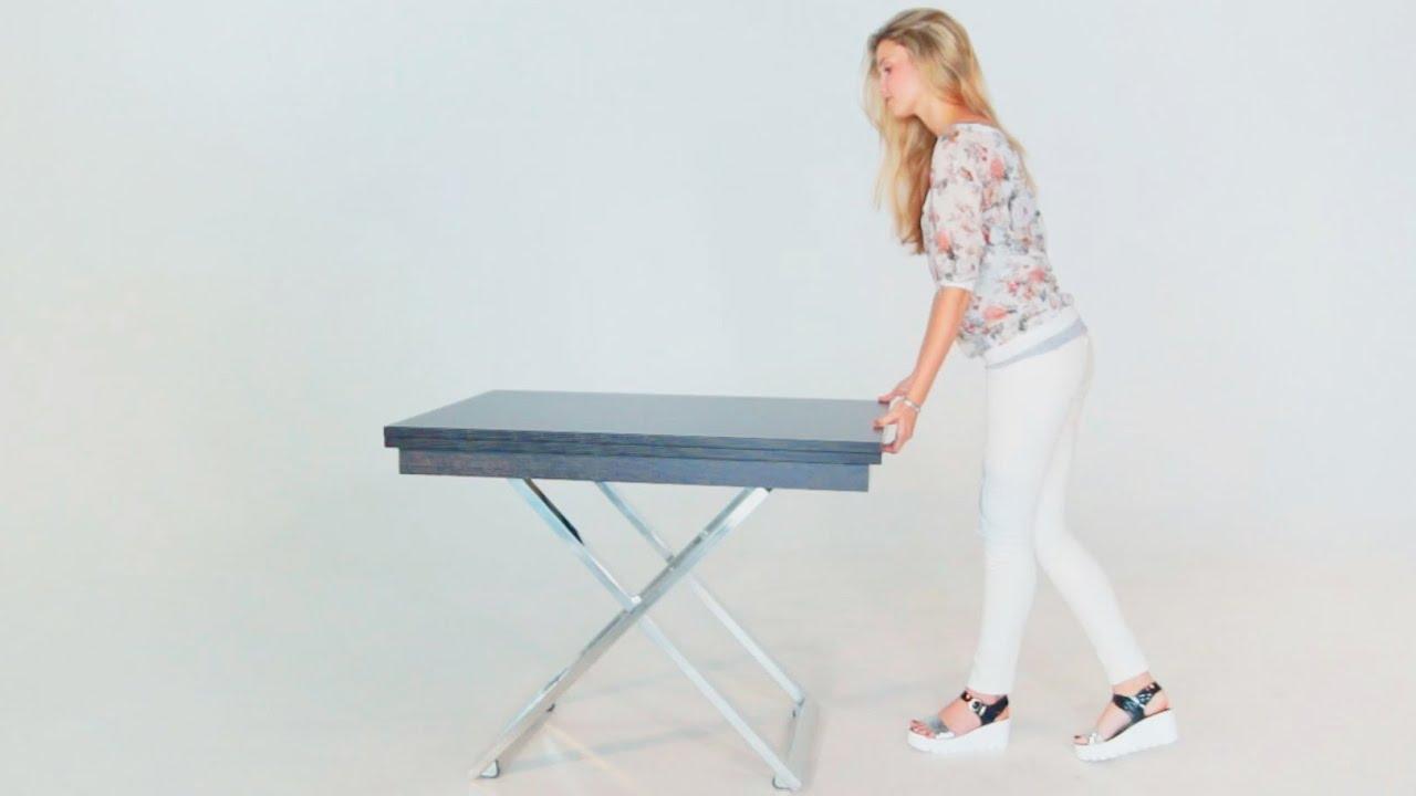 Купить стол трансформер мобил-5 в бежевом цвете или белом стеклянный раздвижной с регулируемой высотой на колёсиках в интернет-магазине. Размеры: 110/150 х 68 х высота от 27 до 82 см. |.