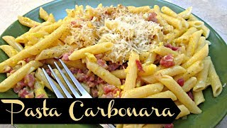 Pasta Carbonara with Penne - Speedy Cooking Videos - PoorMansGourmet