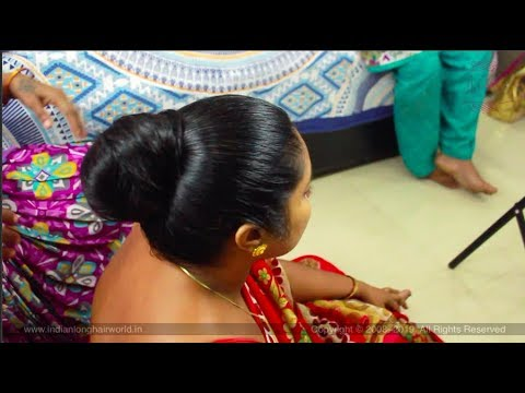 ILHW Deepa's Hair Brushing, & Elegant Oily Huge Traditional Knot Bun Making After Oiling By Aunt.