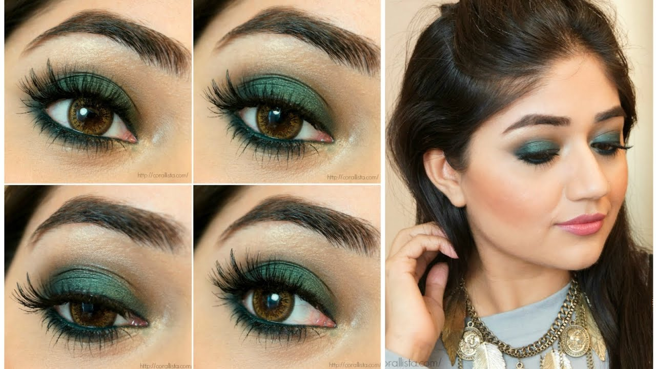 Green smokey eye makeup