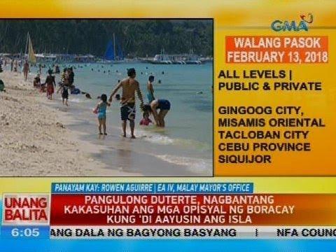 Pangulong Duterte, nagbantang kakasuhan ang mag opisyal ng Boracay kung 'di aayusin ang isla