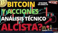PRECIO DE BITCOIN Y ACCIONES EN REBOTE ALCISTA?  ANÁLIS TECNICO 6-16-2020