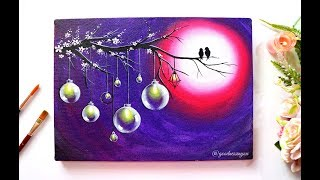 A Love Bird  Painting with Hanging Bulbs / Step by Step Painting using Acrylic Colours