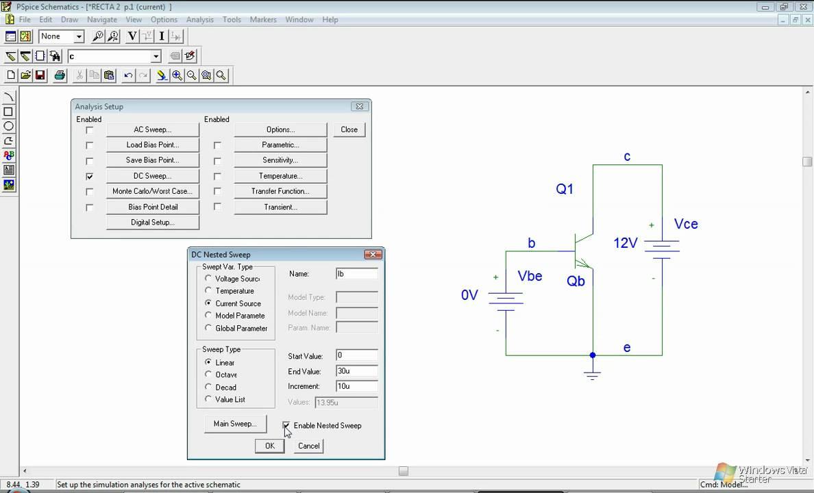 GRAFICO Curva caráterística Transistor PSPICE Ibq/Vbe