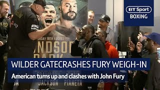 Woah! Huge clash as Deontay Wilder gatecrashes Tyson Fury