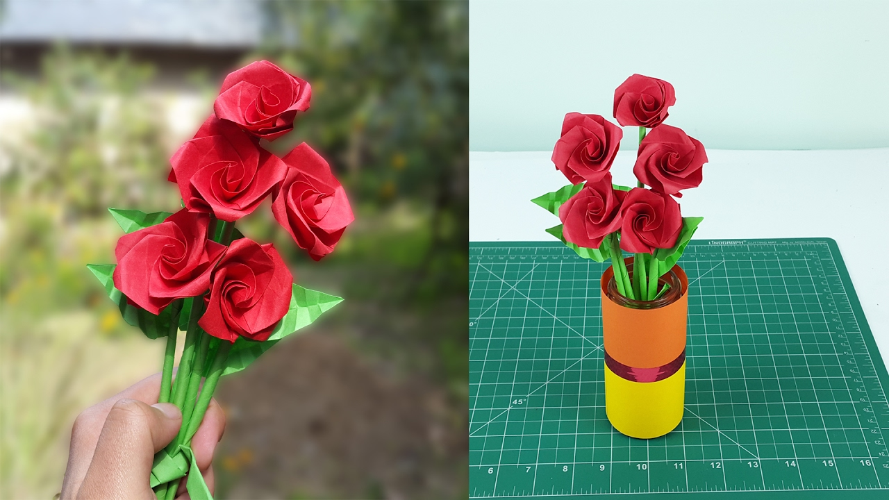 How To Make Realistic Paper Roses With Leaves And Stem Easy Step