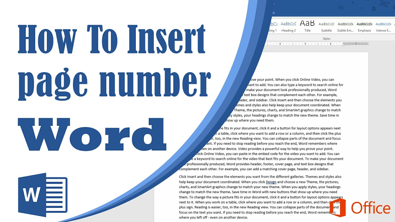 how to add page numbers on microsoft word