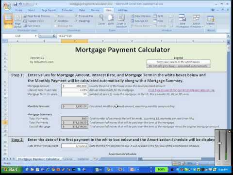 Mortgage Payment Calculator for Microsoft Excel YouTube – Mortgage Payment Calculator