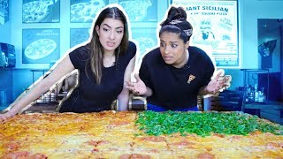 Eating The Worlds Largest Pizza CHALLENGE! feat. iiSuperWomanii