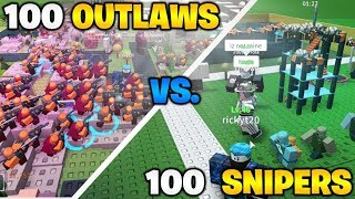 100 SNIPERS vs 100 OUTLAWS dans Tower Defense Simulator (ROBLOX)