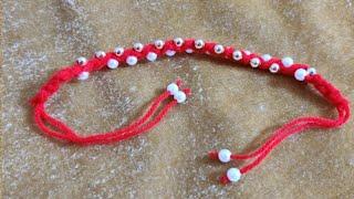 How to make Rakhi / Friendship band at home using beads / Woolen Rakhi...
