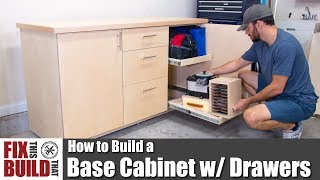 The perfect project to add garage / shop storage, I show you how to build a base cabinet with drawers. This DIY base cabinet will