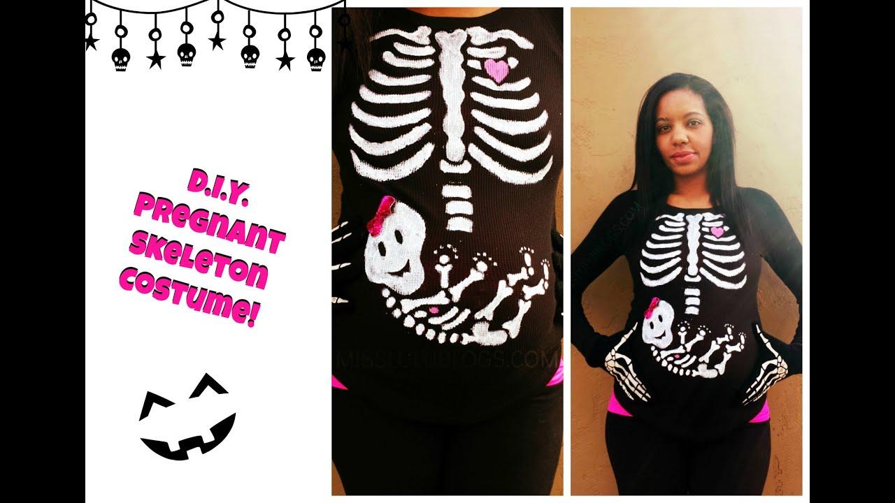 Last minute costume diy pregnant skeleton youtube solutioingenieria Image collections