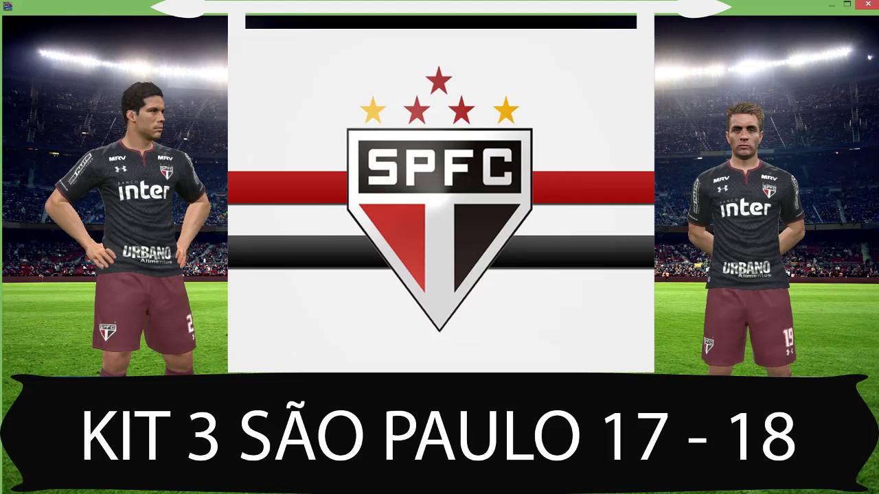 b036bb2ad232b Novo uniforme kit 3 do São Paulo 17 - 18 para PES 2017 - YouTube