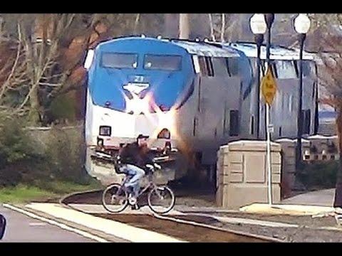 Amtrak almost hits biker! - Coast Starlight #11