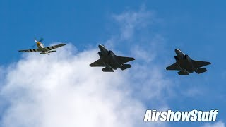 Heritage Fllght F-35 / A-10 / P-51 Formation Arrival and Flybys - EAA AirVenture Oshkosh 2017