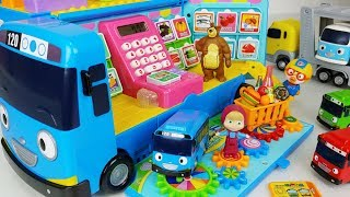 Tayo Bus mart and food toys Baby doll car play - 토이몽
