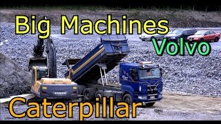 Caterpillar 325C Excavator Vs Volvo 210B Steam shovel-Scania truck- Big machines