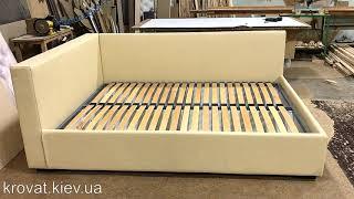 Кровать из итальянской экокожи на заказ