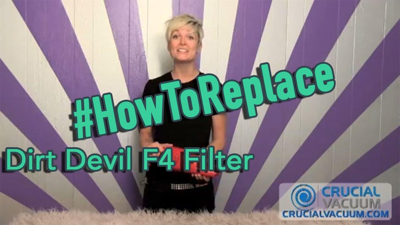 Dirt Devil F4 Filter Change Part 1mb1960b00 3me1950001 2me1950001 Youtube