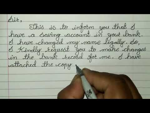 Sample Letter To Bank For Change Of Name // Letter Writing In Cursive