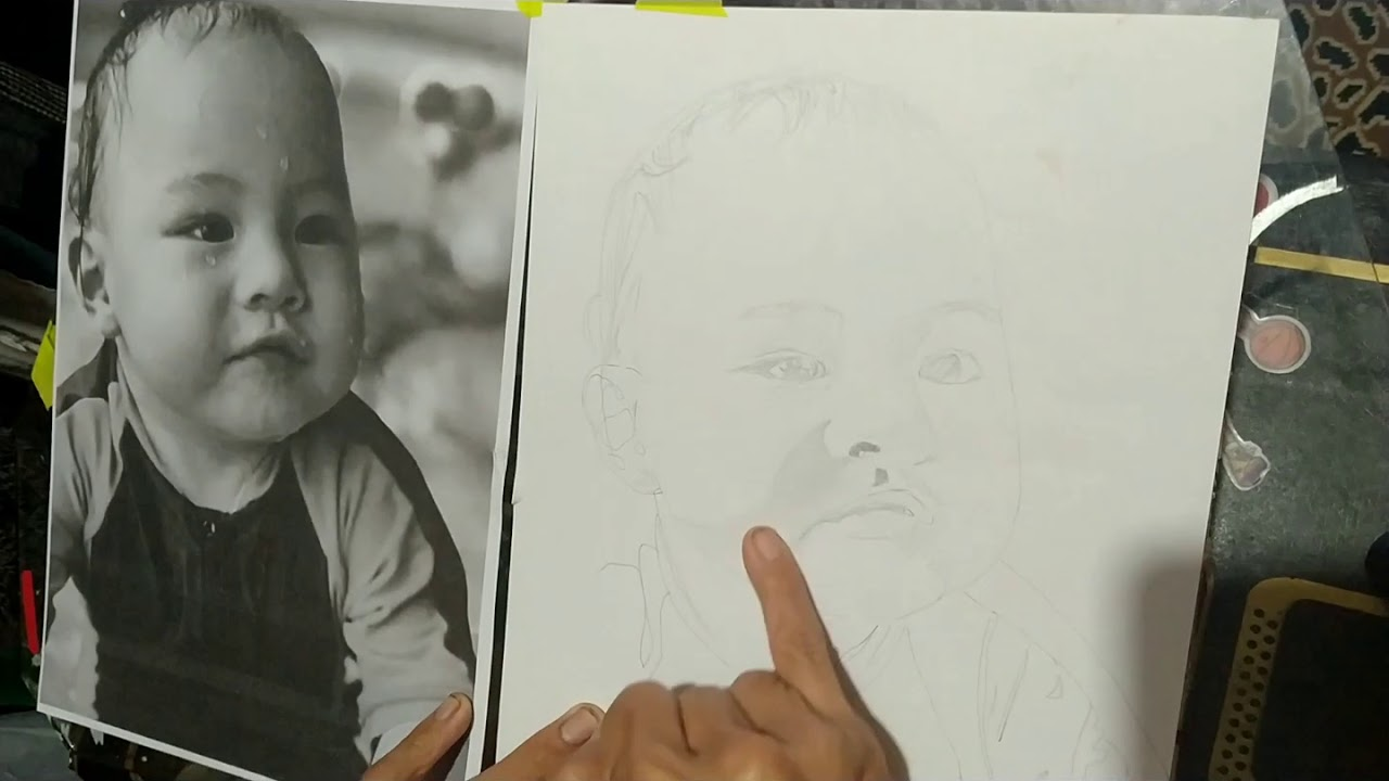 Pencil drawing this cute little baby boy.. - YouTube