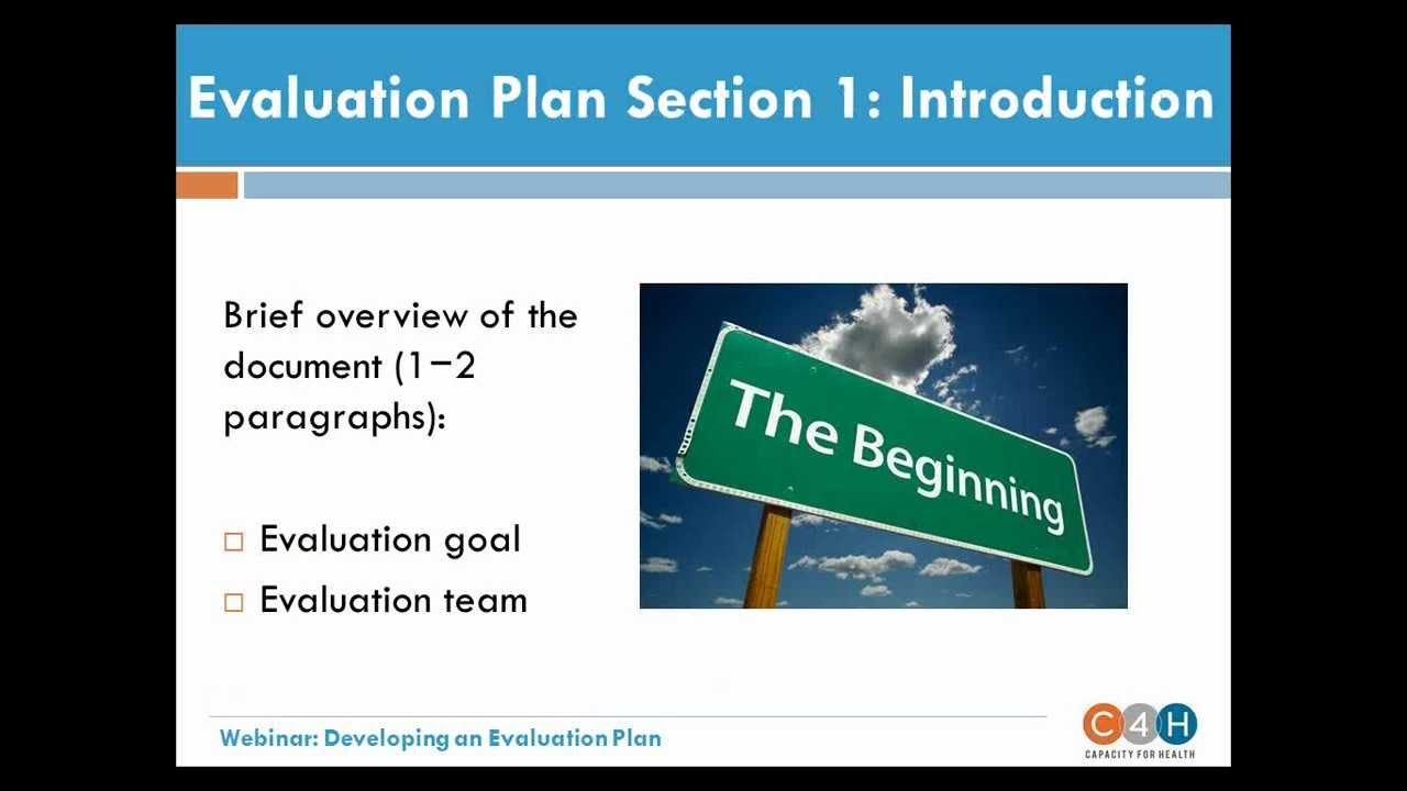 WEBINAR Developing an Evaluation Plan YouTube – Evaluation Plan