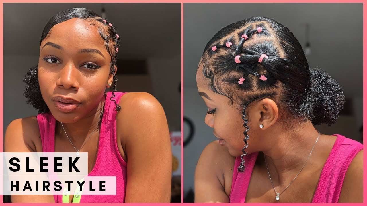 Slick Back Side Puff With Rubber Bands Tutorial Natural Hairstyles Youtube