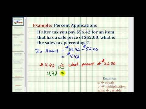 Ex: Find the Sale Tax Percentage