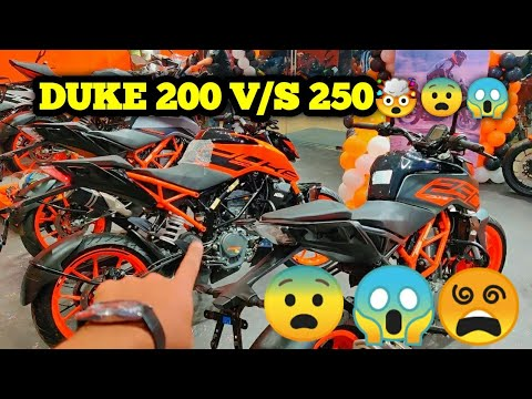 duke-200-vs-duke-250-comparison,-walkaround,exhaust|-ktm-goregaon-showroom-opening😵🤯😨😱-#duke200