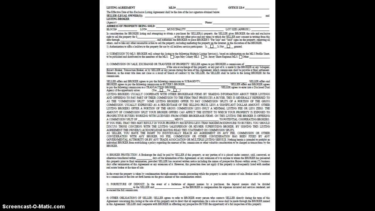 Real Estate Listing Agreement For Sale Ocean City Nj Youtube