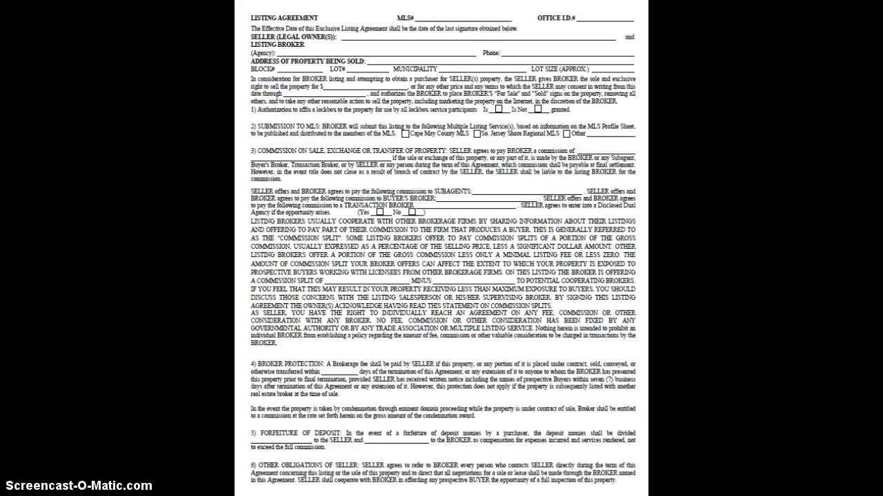 Real Estate Listing Agreement For Sale Ocean City Nj