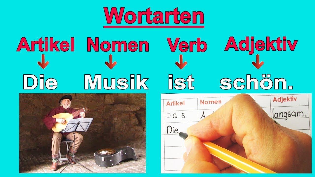 Wortarten Artikel Nomen Verb Adjektiv Pronomen Satzbau قواعد اللغة الألمانية