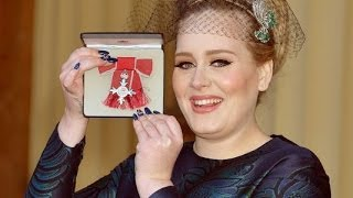 Adele Awarded MBE At Palace For Services To Music By The Prince Of Wales