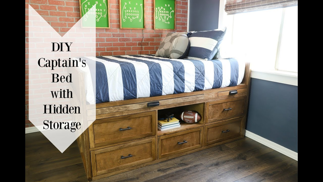 Full Size Captain S Bed With Hidden Storage