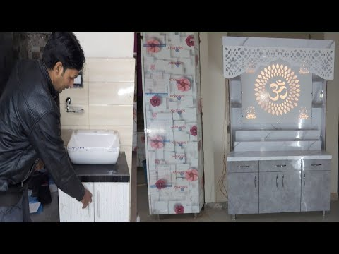 पूजा के लिए मंदिर Pooja Room Design 5'x7' || Living Room design vanity Wash Basin (wood work zk)