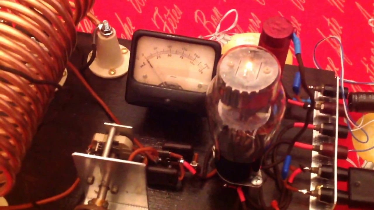 my homemade hartely transmitter using 6l6 g on meter