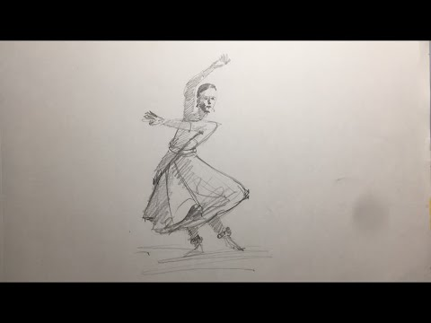 Quick Sketching Of A Indian Classical Dancer In Pencil Speed Art Youtube