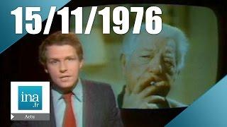 20h Antenne 2 du 15 novembre 1976 - Mort de Jean Gabin - Archive INA