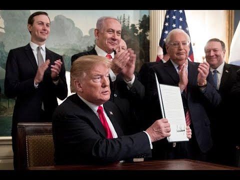 ترامب يوقع على الإعتراف رسمياً بسيادة إسرائيل على الجولان  - نشر قبل 4 ساعة