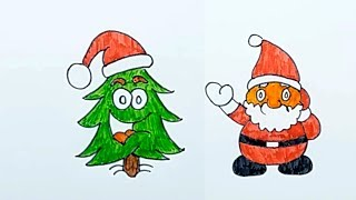 Easy Santa Claus Cartoon Drawing for Kids View | Smart Bapy