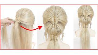 Легкая прическа для длинных волос Низкий хвост с плетением
