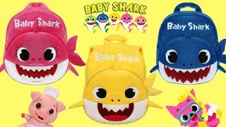 Opening Baby Shark Back To School Backpack with Mommy & Daddy