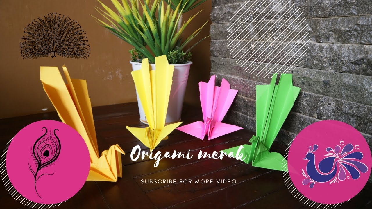 Kolase Burung Merak Dari Kertas Origami - Rahman Gambar