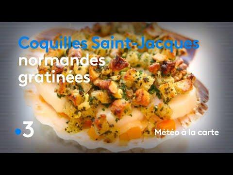 recette-:-coquilles-saint-jacques-normandes-gratinées---météo-à-la-carte