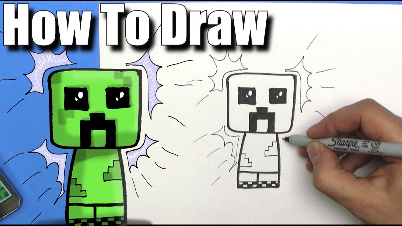 How To Draw A Cute Cartoon Minecraft Creeper  Easy Chibi  Step By Step   Kawaii