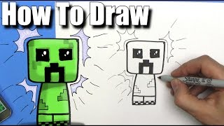How To Draw a Cute Cartoon Minecraft Creeper - EASY Chibi - Step By Step - Kawaii