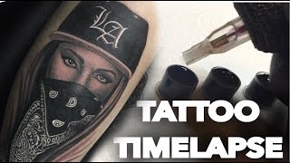 TATTOO TIME LAPSE | GANGSTER GIRL | CHRISSY LEE
