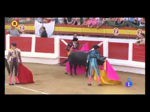 Beelden van vegan streaker bij stierengevecht in Mérida